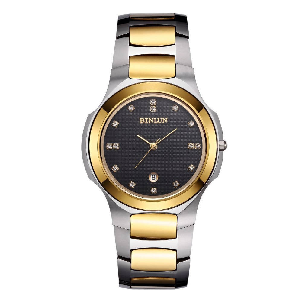 Binlun Womens Classic Tiny Tungsten Steel Bangle Bracelets Diamonds Watch Japanese Quartz Movement Men and Women Couple Watches<br>