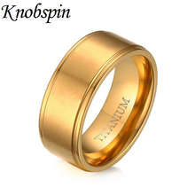 Cool Unique simple design Men's Ring high quality Titanium gold color wire Drawing Jewelry 8MM bague homme bijouterie(China)