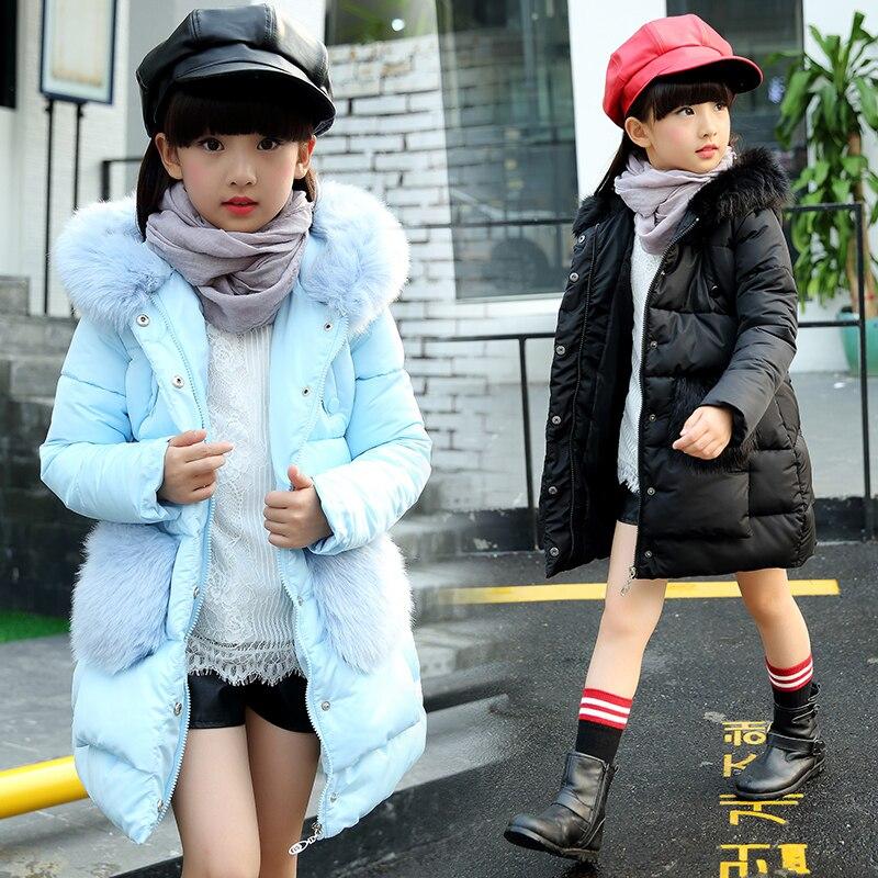 Girls Winter Jackets 2016 new winter Fashion Jacket Girl Hooded Thick Long Cotton-Padded Winter Outerwear &amp; Coats For 4-12yearÎäåæäà è àêñåññóàðû<br><br>