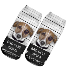 2017 Fashion Design Women Men Cotton Animal Socks Cute Bad Dog Husky 3D Printed Ankle Socks For Gift Many Style(China)