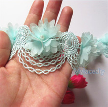 10x Light Blue Pearl Chiffon Flower Embroidered Lace Edge Trim Ribbon Applique Fabric Handmade DIY Wedding Dress Sewing Craft(China)