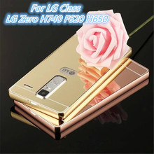 For LG Class / LG Zero LS675 H650AR H650E Metal Aluminum Bumper + Acrylic Hard Mirror Back Hybrid Cell Phone Cover Cases