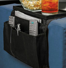 Black Sofa Holder Bag Coach Sofa Edge Arm Rest Organizer Storage Box Remote Control Holder