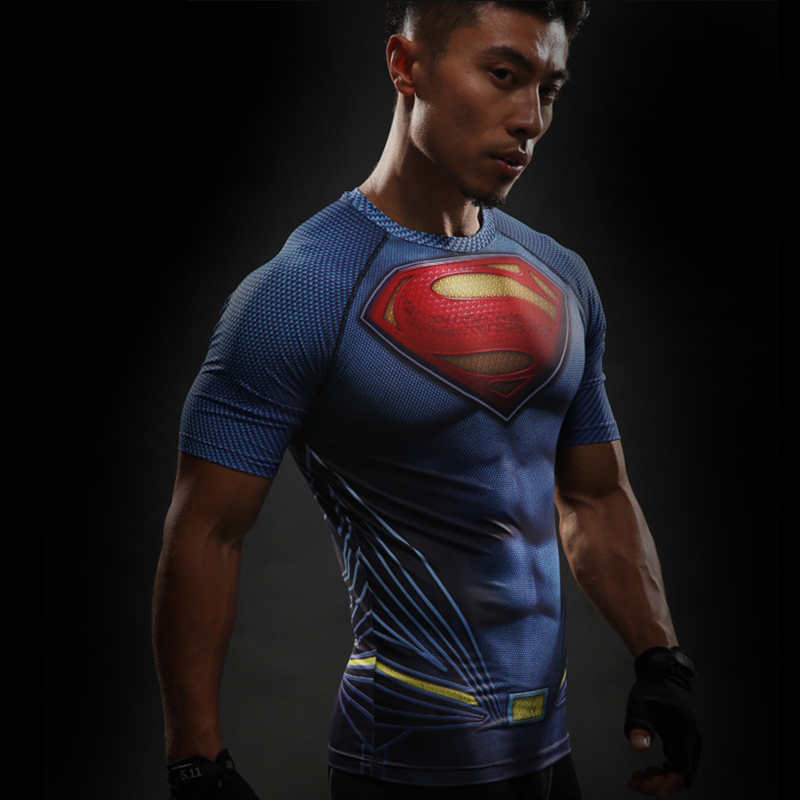 Short Sleeve 3D T Shirt Men T-Shirt Male Crossfit Tee Captain America Superman tshirt Men Fitness Compression Shirt Punisher MMA 20