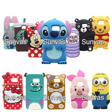 3D Animal Minnie Stitch Teddy Bear Kitty Winnie Judy Soft Silicone Phone Back Case Cover Skin For Samsung Galaxy Note 3 4 5(China)