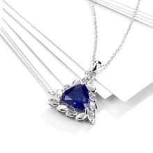 Women's Silver Plated Blue Zircon Pendant Necklace Chain Fashion Fine Jewelry Wholesale Gifts Collection For Women N0101-C