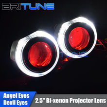 Buy Mini 2.5'' HID Bi-xenon Projector Lens W/LED DRL Angel Devil Demon Eyes Halo H1 H4 H7 Headlamp Lenses Car Headlight Tuning for $31.91 in AliExpress store