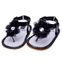 6 Colors Newborn Baby Toddler Girl Sandals Flower Summer PU Hook Infant Shoes Sandals 0M-18M(China)