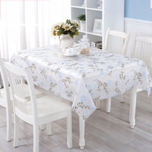 Waterproof Oilproof PVC Table Cloth Floral Printed Disposable Plastic Tablecloth Rectangular Table Cover Christmas Decoration
