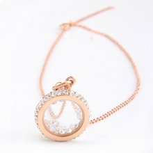 Rose Gold Color 316L Stainless Steel CZ Crystal Round Pendant Necklace Stainless Steel Fashion Jewelry