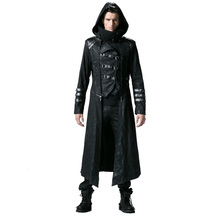 Gothic Black Winter Men's Long Coat Steampunk Twill High Collar Jackets Punk Leather Coats Overcoats with Detachable Hem and Hat(China)