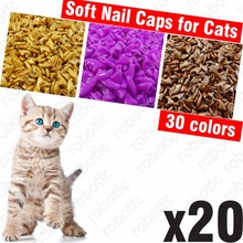 20pcs - Soft Nail Caps for Cats + 1x Adhesive Glue + 1x Applicator /* XS, S, M, L, cover, cat, paw, claw, ztp */