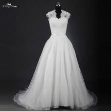 RSW1216 Illusion Queen Anne Neckline Mett Organza Skirt A Line Wedding Gowns
