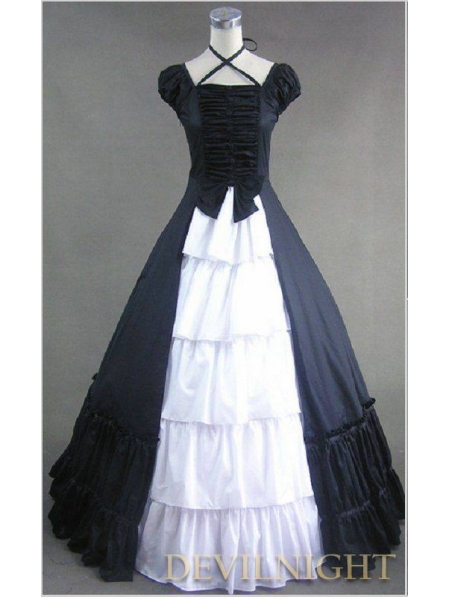 Cheap Classic Black and White Multi-Layered Gothic Victorian Dress