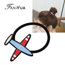 FANHUA New Fashion Plaits Hair Accessories Black Elastic Rope Colorful Lovely Aircraft  Decoration Headbands Headwear Women