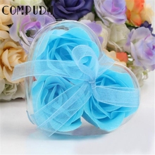 Compuda 3Pcs 7.5*7.2*4cm Scented Rose Flower Petal Bath Body Soap Wedding Party Gift*30 Gift Drop