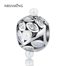 Authentic 100% 925 Sterling Silver Crystal Pearls Leaf Beads Crystal Charms Fit Pandora Bracelets & Bangles DIY Jewelry Making(China)