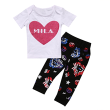 Summer 2017 Kids Newborn Infant Baby Boys Girls Clothes Love Heart Tops+Long Pants Outfits Set 2Pcs Clothing Set(China)