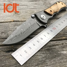 LDT 339 Military Folding Knife 440 Blade Wood Handle Outdoor Camping Knives Tactical Hunting Pocket Survival Utility EDC Tools