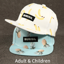 Fashion Fruit Pattern Adult & Kids Snapback Caps Children Baseball Hat Caps For Boys Girls Sun Hip Hop Snapback Caps Sun Hat