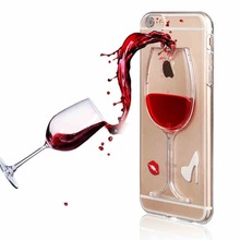 10 Pieces/ Lot Wholesale Cheapest Phone Case liquid wine glass FOR IPHONE HARD Plastic Phone Cover