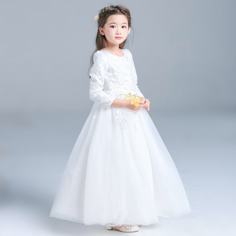 Formal-Wedding-Party-Baby-Girls-Dresses-2018New-Kids-Clothes-Solid-Brief-Cute-Lace-Princess-Ball-Gown (3)