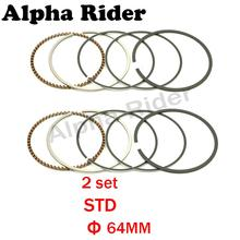 2 Set Motorcycle Engine Part STD Standard Bore Size 64mm Piston Rings for Honda STEED400 BROS400 SHADOW400 STEED BROS SHADOW 400