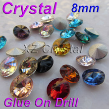 BY01 8mm 10pcs/lot Rivoli Shape Pointback Crystals Strass Round Rhinestones Beads Colors For Choose DIY Phone Accessories