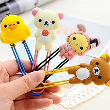 1X Kawaii Large Rilakkuma Rabbit Silicone Head Paper Clip Bookmarks Marker of Page Student Stationery School Office Supply Gift