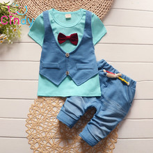 Summer 2016 fashion Kids fake two 2pcs clothes suit Baby Boy T-shirt Top+Short pants outfit set children gentleman Clothing Sets