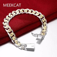 MEEKCAT Fashion Men's Jewelry 925 stamped silver plated 10mm golden chains 8'' 20CM bracelet bangle Pulseiras de Prata male gift(China)