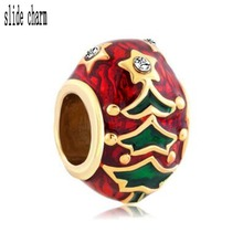 slide charm Free shipping  real Christmas tree beads fit Pandora bracelet charm bracelets and jewelry accessories