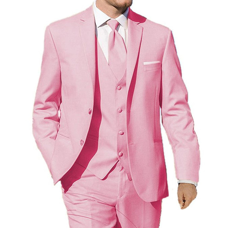 Pink Wedding Tuxedos Groom Wear Three Piece Classic Style Custom Made Dinner Party Men Suits Jacket Pants Vest 2018