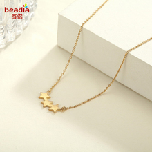 Three Star Shape Necklace Gold Color Snake Chain Pendant Necklaces Fashion Noble Sample Style Women Jewelry Holiday Gift