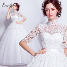 C.V 2017 NEW Luxury lace flower wedding dress  european style stand collar princess bride half-sleeve wedding ball gown dresses