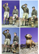 Scale Models 1/ 35 WW2 British Armoured Crew (2 Figures and Puppy)   figure Historical WWII Resin Model Free Shipping