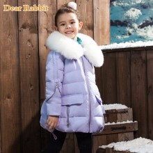 thick kids snow clothes girls white duck down jacket suit for girl children's winter jackets Nagymaros collar outwear coat parka(China)