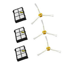 6Pcs Hepa filter 3 Armed Side Brush for iRobot Roomba 800 900 Series 870 880 980 Vacuum Robots Accessory Parts New