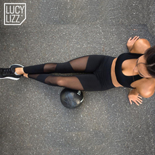Lucylizz 2017 Sexy Mesh Patchwork Sports Leggings Women Fitness Clothing Black Gym Trousers Sportswear Yoga Pants Running Tights(China)