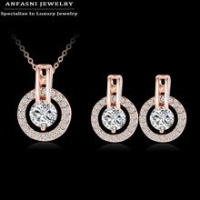 Big Promotion 80%Off New Style Fashionable Sets Hot Sale Rose Golden Color Set Earring/Necklace Round Set For Women ST0017-A(China)