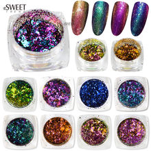 SWEET TREND 1Bottle Sparkly Colorful Irregular Chameleon Effect Nail Art Glitter DIY Nail Gel Polish Decoration Dust LABS07-28
