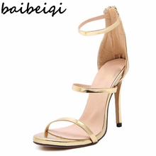 women new style concise simple plain strappy open toe ankle strap mary jane stiletto cut out sandals pump high heels gold silver