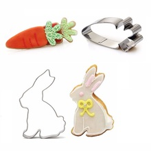 Hot new 2pcs Stainless Steel Cartoon Rabbit Carrot Shape Cookie Cutters Mold Fondant Cake Decorating Molds Baking Biscuits Tools(China)