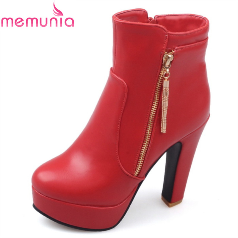 2017 autumn winter fashion ankle boots thick high heels round toe platform solid black white red simple ladies boots<br><br>Aliexpress