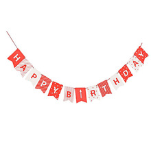 HAPPY BIRTHDAY Bunting with a Red Rope Suit Hat Hanging Garlands Pastel Pink String Flags Baby Shower Party Decor