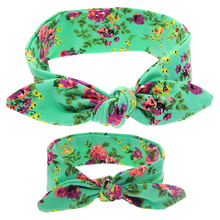 2PC DIY Mother&Baby Bow Floral Flowers  Knot Rabbit Ears Headband Hair Band Accessories For Adult Kids Girls Children Turban