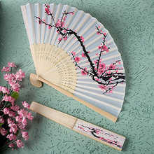 100PCS/LOT WHITE POLYESTER FANS DELICATE CHERRY BLOSSOM DESIGN SILK FOLDING FAN SUMMER OCCASIONS OUTDOOR WEDDING PARTY FAVORS