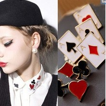 Fashionable Poker Brooches Cheap Brooch pins For Women Jewelry Wholesale Price Party jewelry(China)