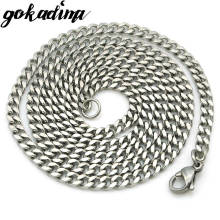 Gokadima (40cm-60cm), 3mm wide,Cuban Curb Chain Stainless Steel Chain necklace for men or women accessories, wholesale, WN001