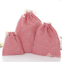 Festival Gift Bags Travel Pouch Drawstring Bag Cotton Linen Grid Stripe Jewelry Storage Bags Simple Organizer Wedding Decoration(China)